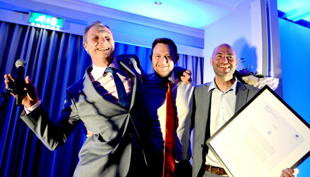 Sveinung W. Jensen (t.v.), Lars Erik Larsen og Vidar Falkum i Lister kan fritt brukes i forbindelse med omtalen av Årets lokalavis og LLAs landsmøte. Foto: Gard Michalsen/Medier24
