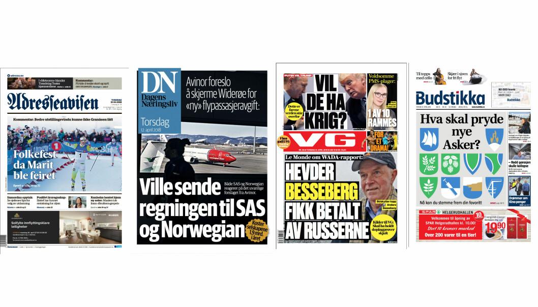Adresseavisen, DN, VG og Budstikka er nominert til Årets avis til Medieprisene 2017.