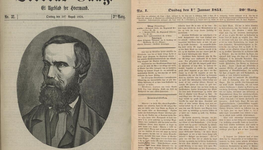 F.v. I 1870 skrev Verdens Gang et forfatterportrett av Vinje, illustrert med eit xylografi av signaturen L.J. T.h: Vinjes artikkel «Journalistiken» iDrammens Tidende i 1851. Foto: Nasjonalbiblioteket