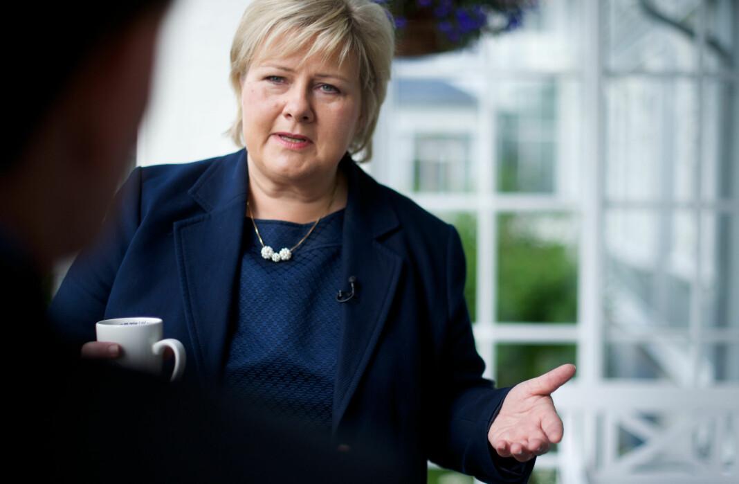 Erna Solberg mener at journalistene går for langt i jakten på nye Sandberg-avsløringer. Foto: CF-Weenberg