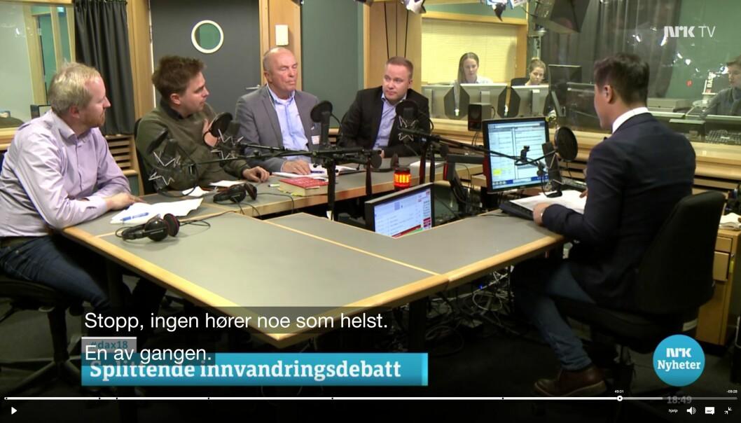 Mandagens siste debatt i Dagsnytt 18 ble litt mer amper enn redaksjonen hadde sett for seg. Foto: Skjermdump, NRK.no