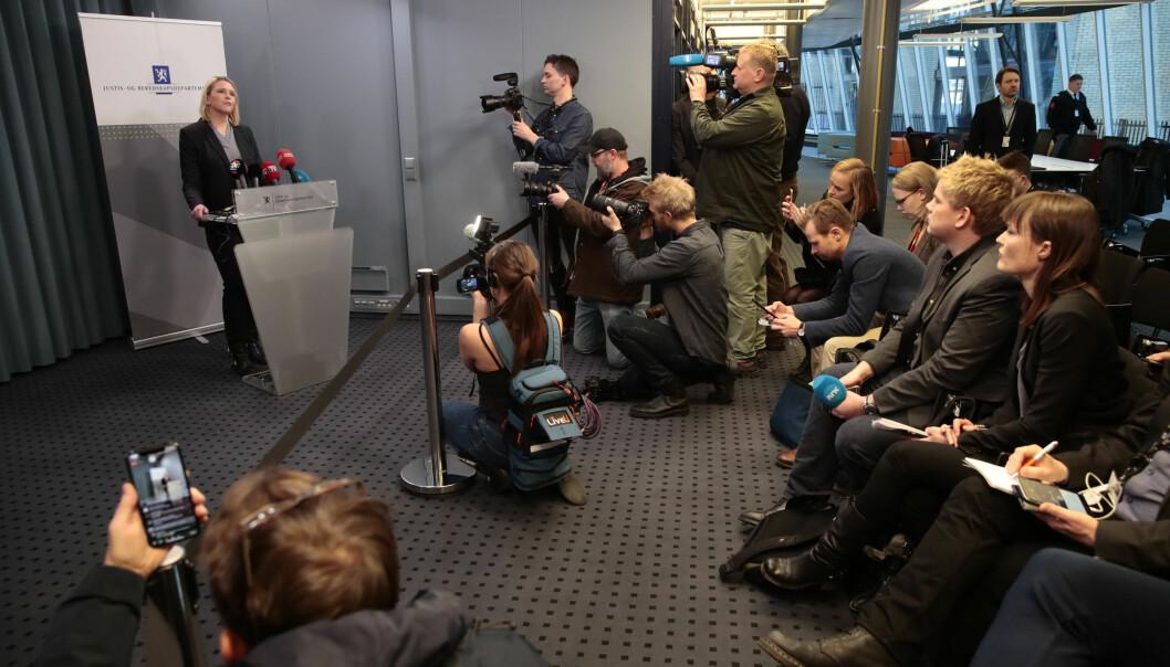 Pressekonferanse i Nydalen i forbindelse med at Sylvi Listhaug (Frp) går av som justisminister. Foto: Håkon Mosvold Larsen / NTB scanpix