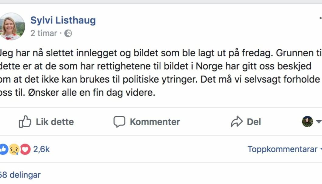 Justisministeren slettet bildet hun la ut på Facebook i helga.