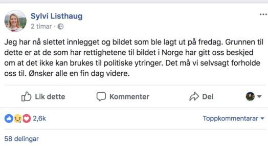 Sylvi Listhaug slettet omdiskutert bilde fra Facebook