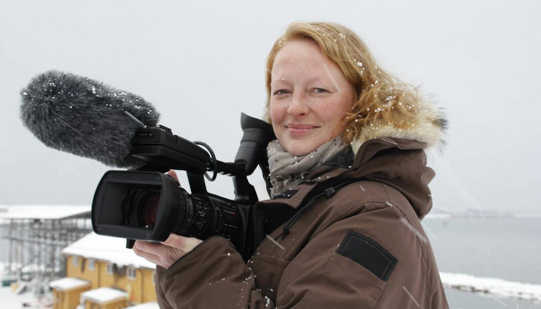 Journalist og dokumentarist Trine Hamran på jobb. Foto: Stian Hansen