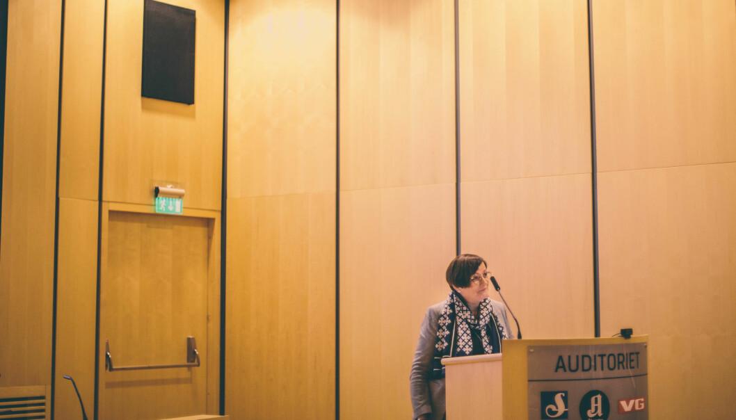 Tove Nedreberg, her under presentasjon av MBLs kjønnsundersøkelse 8. mars. Foto: Marte Vike Arnesen