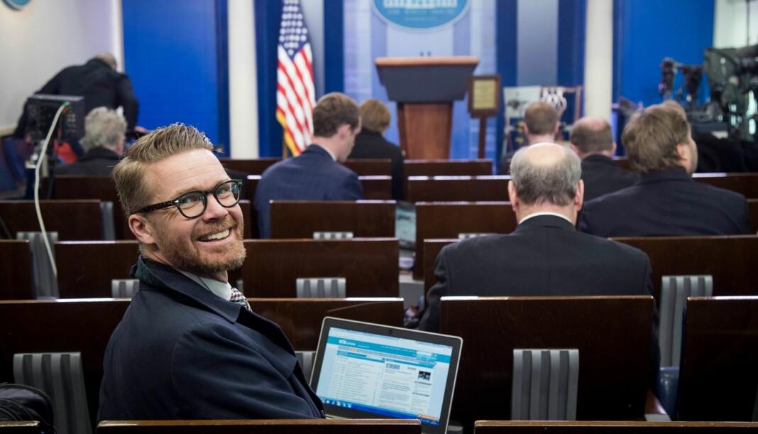 Mats Rønning, Presselosjens leder, under besøket i Det hvite hus. Arkivfoto: Heiko Junge/NTB scanpix