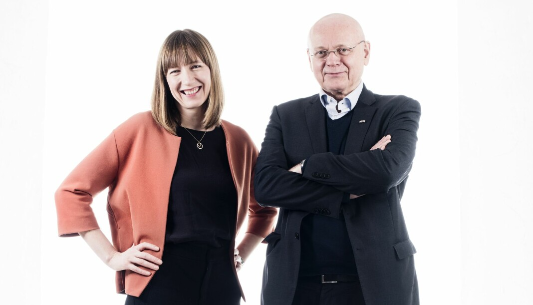 <p>Klassekampens utviklingsredaktør Katrine Ree Holmøy og ansvarlig redaktør Bjørgulv Braanen. Foto: Siv Dolmen</p>