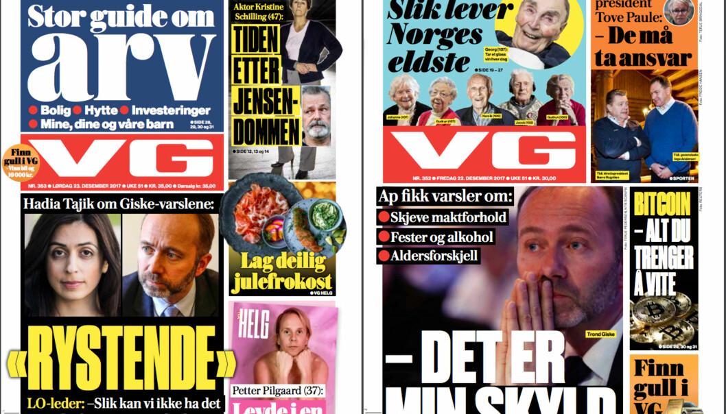 VG er en av avisene som skal sees nærmere på i forskningsprosjektet. Foto: Skjermdump, VG