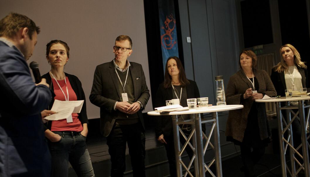 F.v. debattleder Stein Rysstad Larssen, Tora Håndlykken, Kjetil B. Alstadheim, Linn Kathrine Yttervik,Merete Verstad ogKirsti Husby under#metoo-debatten. Foto: Andrea Gjestvang