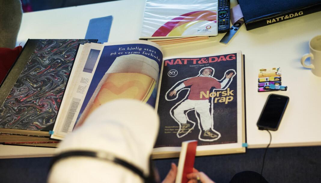 <p>Nå kan du lese deg bakover i Natt &amp; Dags historie, helt til første utgave i 1988. Forsiden på bildet er fra 1994.</p>