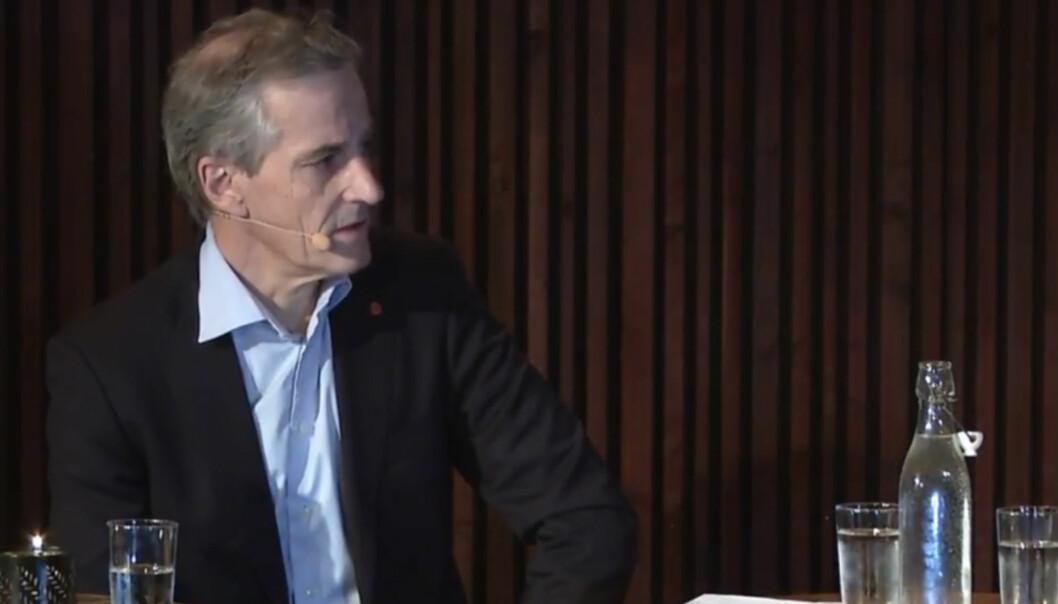 Jonas Gahr Støre fra debatten på Kulturhuset i Oslo. Foto: Oslo Redaktørforening/Oslo Journalistklubb