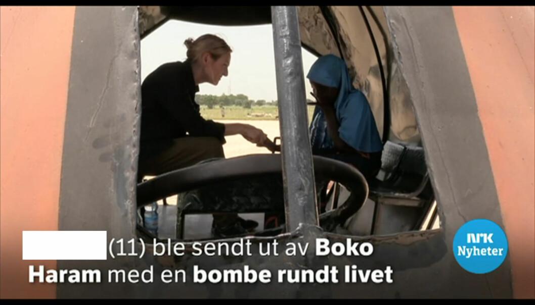 NRKs reportasje om ei 11 år gammel jente i Nigeria er klaget inn til PFU. Journalisten har sladdet jentas navn.  FOTO: Skjermbilde, NRK.