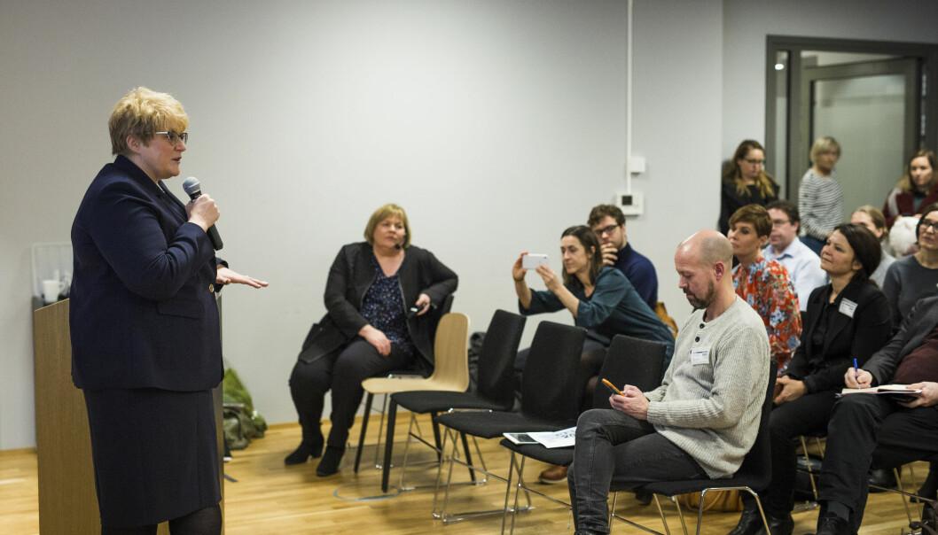 Kulturminister Trine Skei Grande deltok på morgenmøtetMedieåret 2017. Foto: Kristine Lindebø