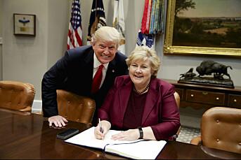 Trump ba om et koselig bilde som Solberg kunne ha med hjem til Norge