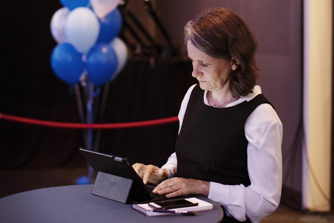 <p>Politisk redaktør i VG, Hanne Skartveit, fotografert på på Høyres valgvake i 2018. </p>
