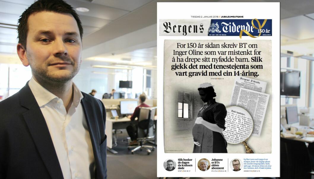 Sjefredaktør i Bergens Tidende, Øyulf Hjertnes, mener tirsdagens forsidesak viser hvor mye journalistikken har endret seg siden første utgave kom ut i 1868.