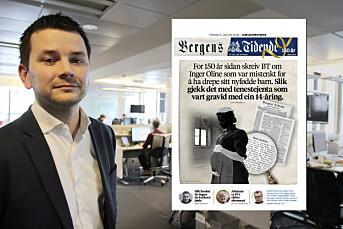 150 år gammel sak pryder dagens forside av 150-årsjubilanten Bergens Tidende