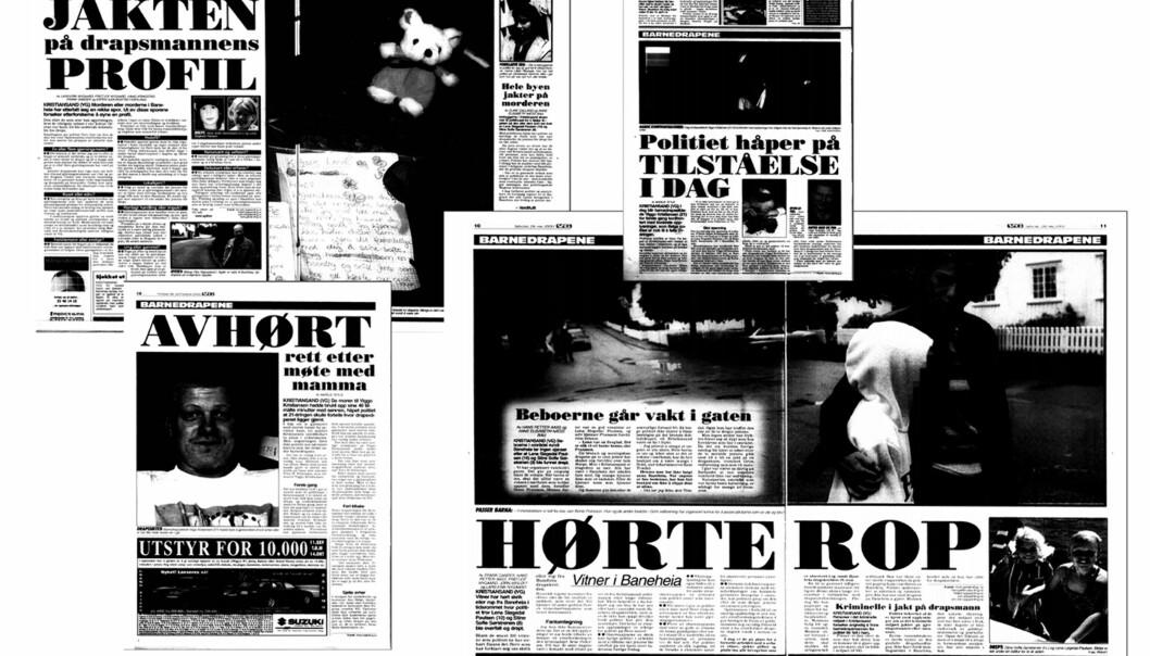 VG-oppslag om drapene i Baneheia i Kristiansand fra våren 2000. Foto: Faksimile, VG
