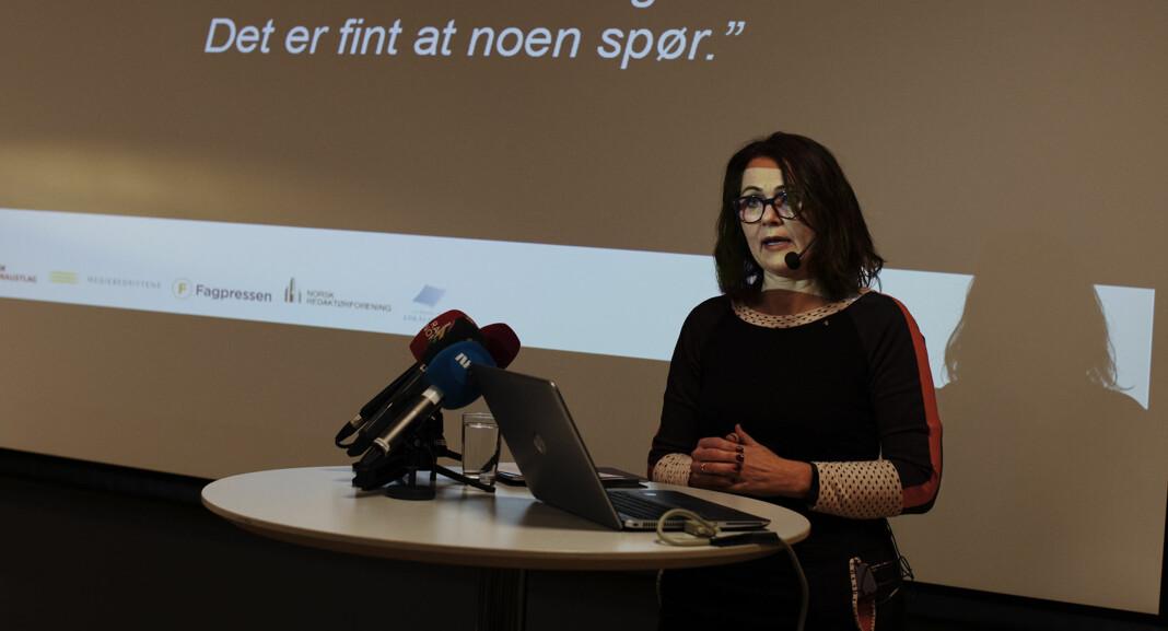 <p>Reidun Kjelling Nybø (bildet) og Arne Jensen i Norsk Redaktørforening presiserer hva som står i foreningens veileder om seksuell trakassering. Arkivfoto: Andrea Gjestvang</p>