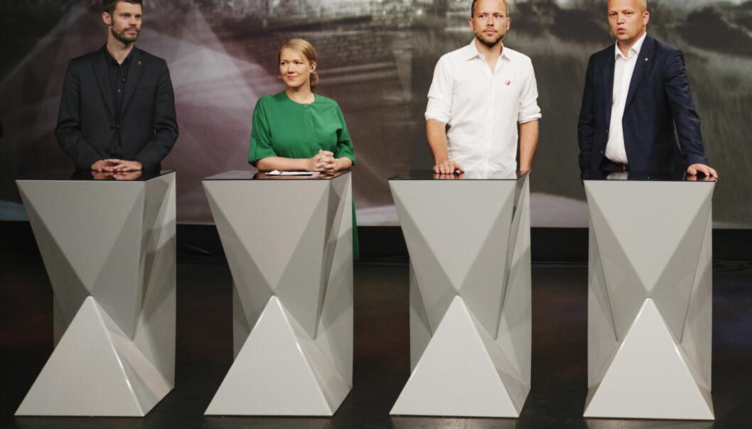 Alle de store partiene slapp til under NRKs valgkampdekning. Her fra partilederdebatten under Arendalsuka. Foto: Andrea Gjestvang.