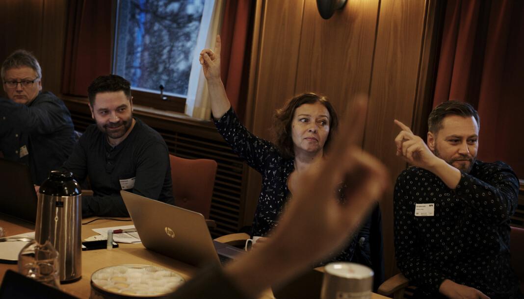 Sonja Nordanger, her på et landsstyremøte i fjor, har flere bekymringer om salget av Autofil. Foto: Andrea Gjestvang