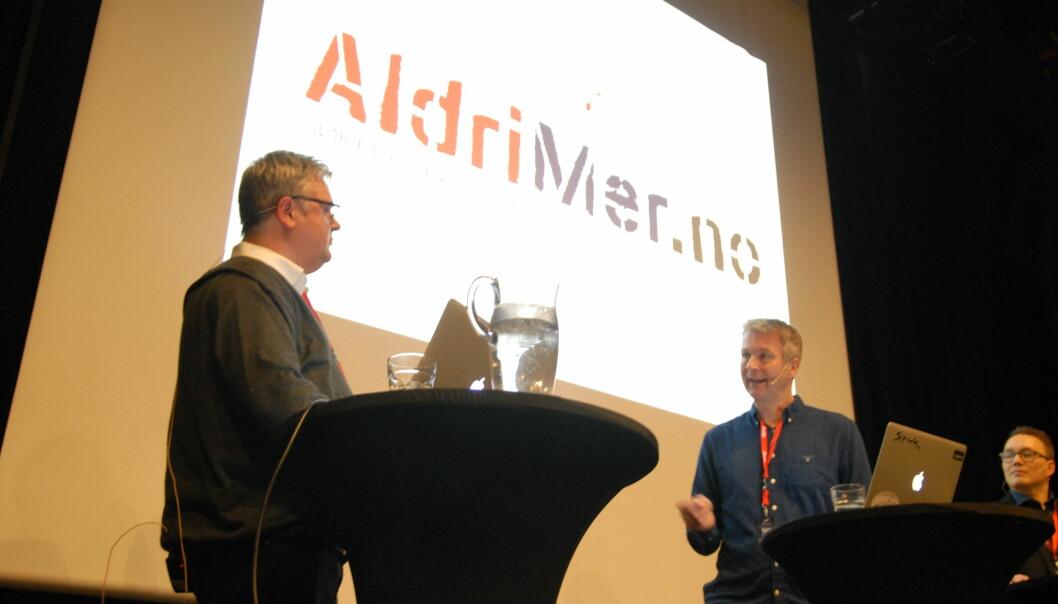 Det er en fare for å bli aktør, mener Ragnar Bøifot (til høyre) i Fremover og var kritisk til Aldrimer.nos bruk av anonyme kilder. Foto: Martin Huseby Jensen