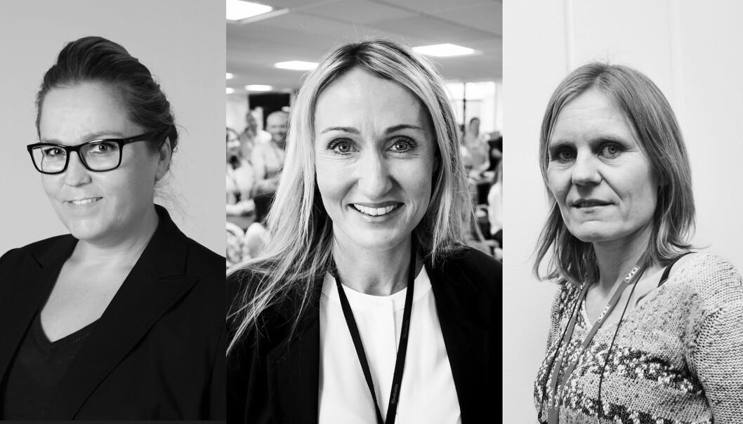 F.v. Bente Klemetsdal, Kirsti Husby og Helje Solberg er nominert til Årets kvinnelige medieleder. Foto: Montasje