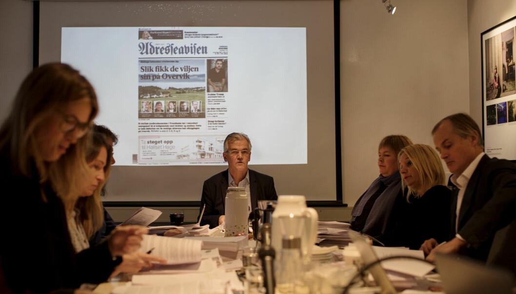 <p>Møte i Pressens Faglige Utvalg (PFU) 31.10.17. PFU&nbsp;behandler Rune Olsøs og Overvik Utviklings klager på Adresseavisen. Foto: Andrea Gjestvang</p>
