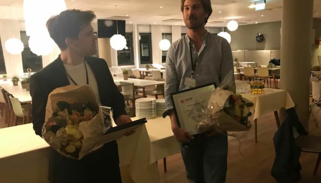 Prisvinnerne Vegard Venli og Eiliv Frich Flydal mottok prisen lørdag kveld. Foto: John Bones