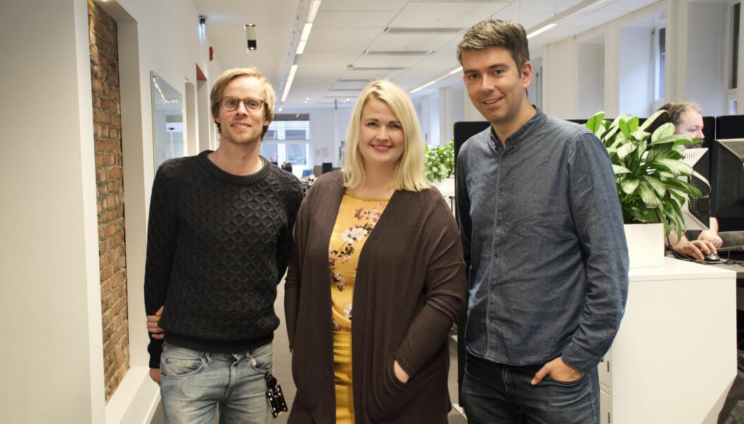 Christian Wiil Gjerde, Janne Nerheim og redaktør Svein B. Langåker skal jobbe med Fremtida Junior på heltid.