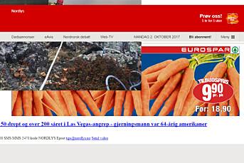 Dette var forsiden til Nordlys i formiddag. Alle Amedias nettsider hadde problemer