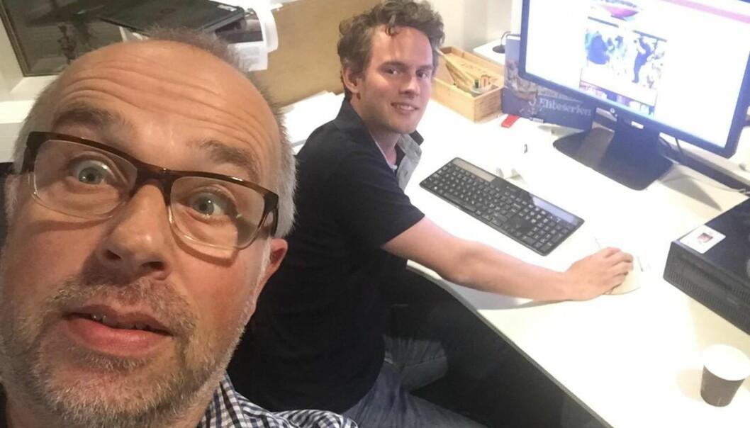 Sjefredaktør Bjørn Sæbø og nyhetsredaktør Lasse Hansen i Rogalands Avis tidlig på valgkvelden.