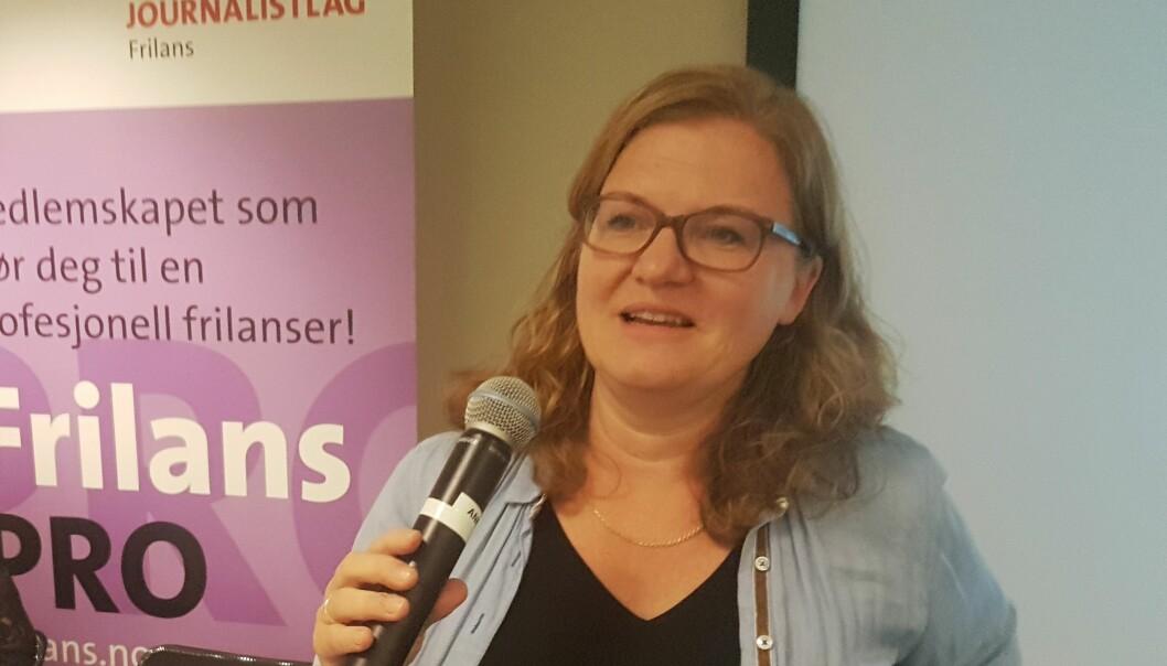Nyvalgt leder i NJ Frilans Oddrun Midtbø takker for tilliten Foto: Aslaug Olette Klausen
