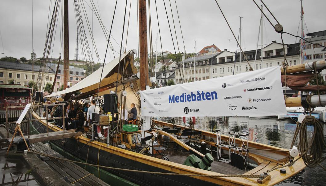 Mediebransjen, her representert ved Mediebåten i Arendal forrige uke. Foto: Andrea Gjestvang