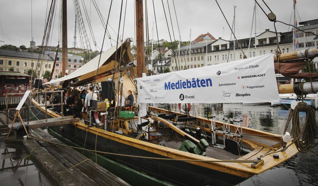 <p>Mediebåten på plass under Arendalsuka i 2017. Arkivfoto: Andrea Gjestvang<br></p>