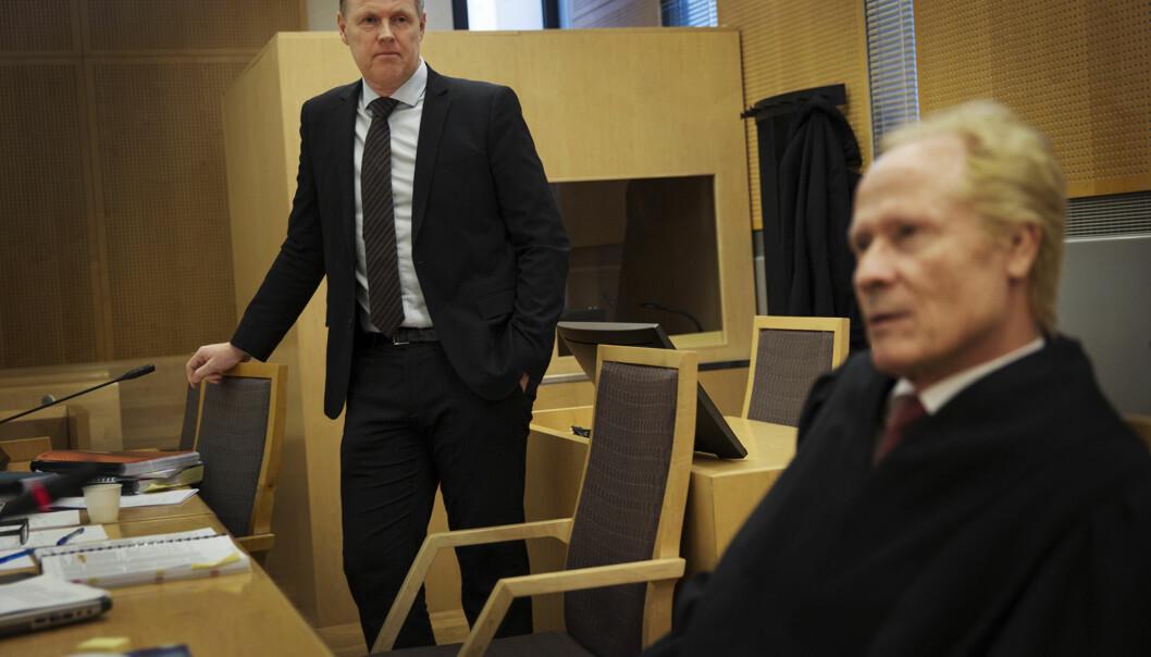 Kirurg Per Kristian Eides advokat Per Danielsen holdt sin prosedyre på nest siste dag av rettssaken mellom Eide og TV 2 i Oslo tingrett. Foto: Andrea Gjestvang