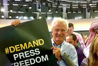 IJs Frode Rekve deltok på støttedemonstrasjon for Al Jazeera i Qatar