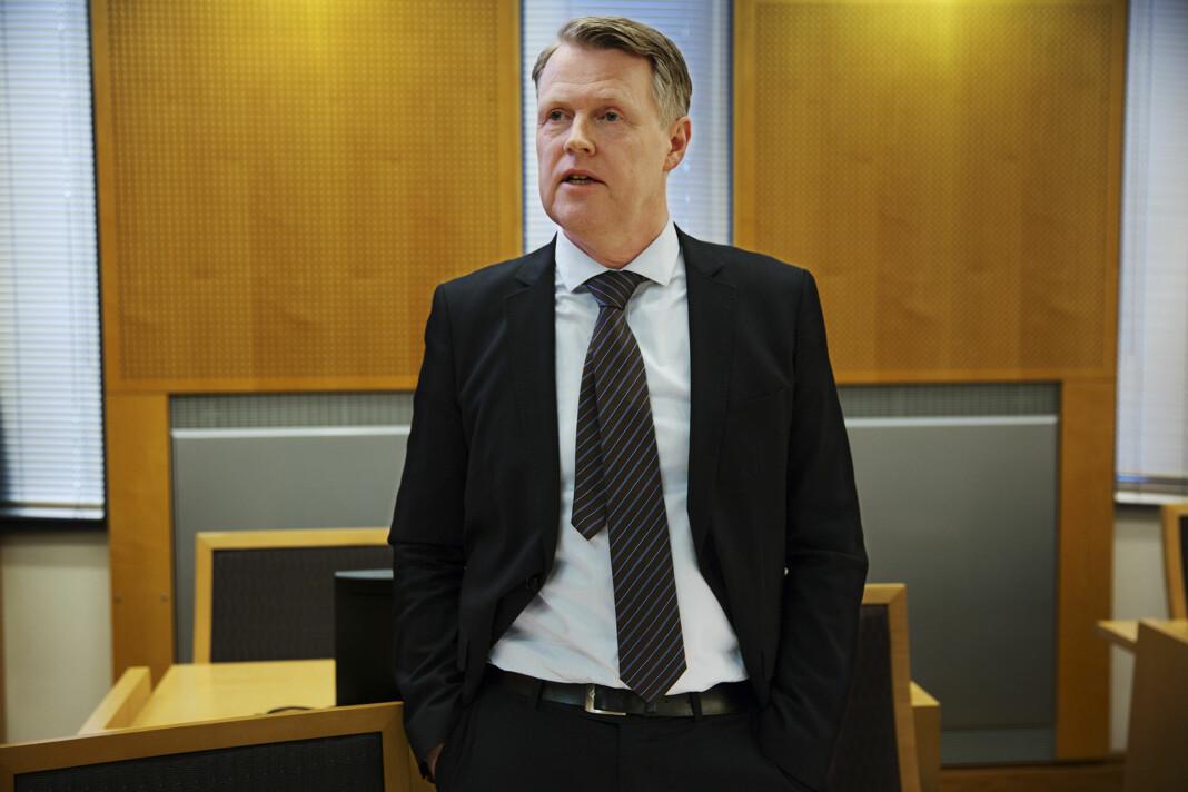 Kirurg Per Kristian Eide under rettssaken mot TV 2 i Oslo tingrett.