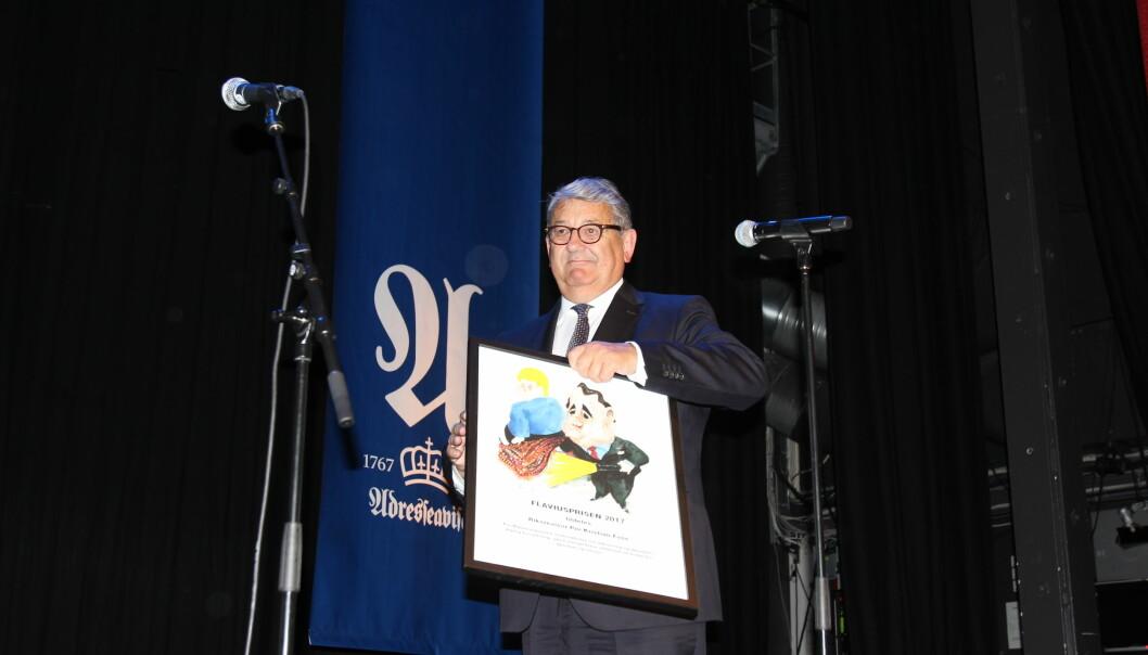 Per Kristian Foss tok i mot prisen under Adressas jubileumsmiddag tirsdag kveld. Foto: Angelica Hagen