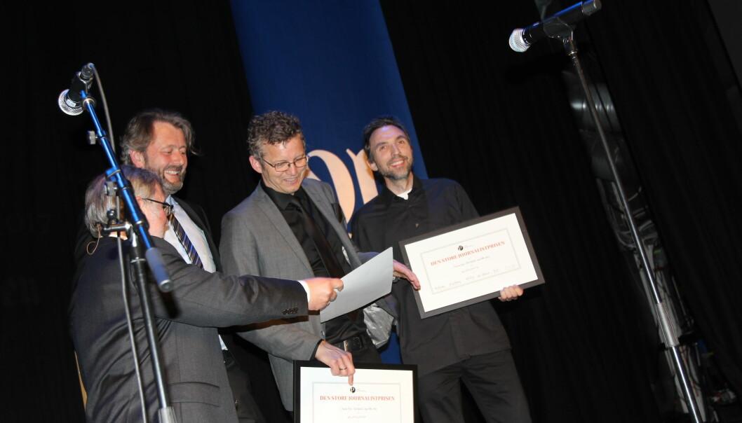 Prisvinnerne tok i mot prisen under Adresseavisens jubileumsfeiring i Trondheim tirsdag. Foto: Angelica Hagen
