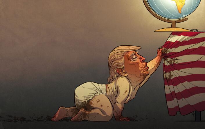 Christian Bloom står bak Årets avistegning. Innrømmer at han er lei av å tegne Donald Trump