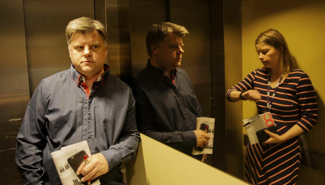 NRKJ-leder Richard Aune på vei til forhandlinger. Foto: Andrea Gjestvang