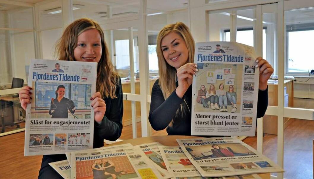Journalistene Marianne Solheim Rotihaug (t.v.) og Christina Cantero har jobbet med prosjektet i Fjordenes Tidende. Foto: Janne Weltzien Listhaug