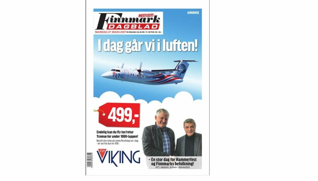 Skjermdump av Finnmark Dagblads forside.