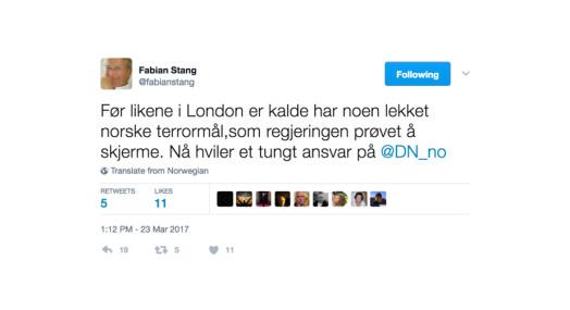 Statsministeren mener det er klokt av Fabian Stang å slette tweet om Dagens Næringsliv