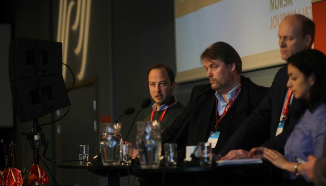 Journalist Andreas Bakke Foss under debatten på landsmøtet. Foto: Glenn Slydal Johansen.