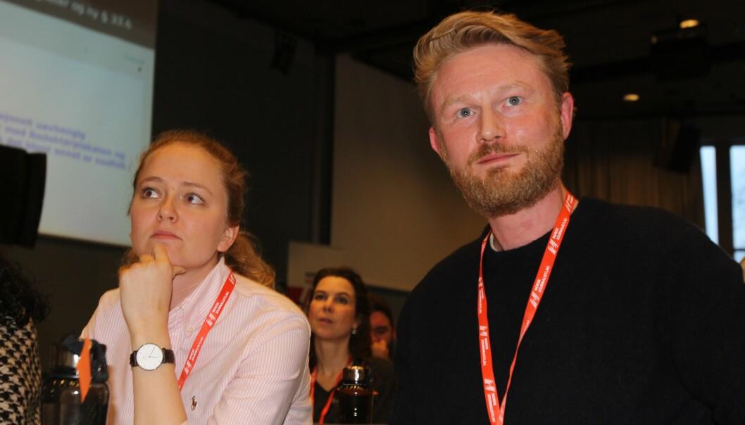 Margrethe Håland Solheim og Baard Zakariassen uttrykte bekymring for Journalistens framtid. Foto: Angelica Hagen