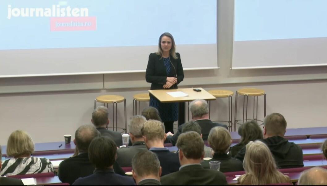 Fra Journalistens jubileumskonferanse, som ble innledet med hilsningstale fra kulturminister Linda Hofstad Helleland. Foto: Journalisten/Tor Torgersen