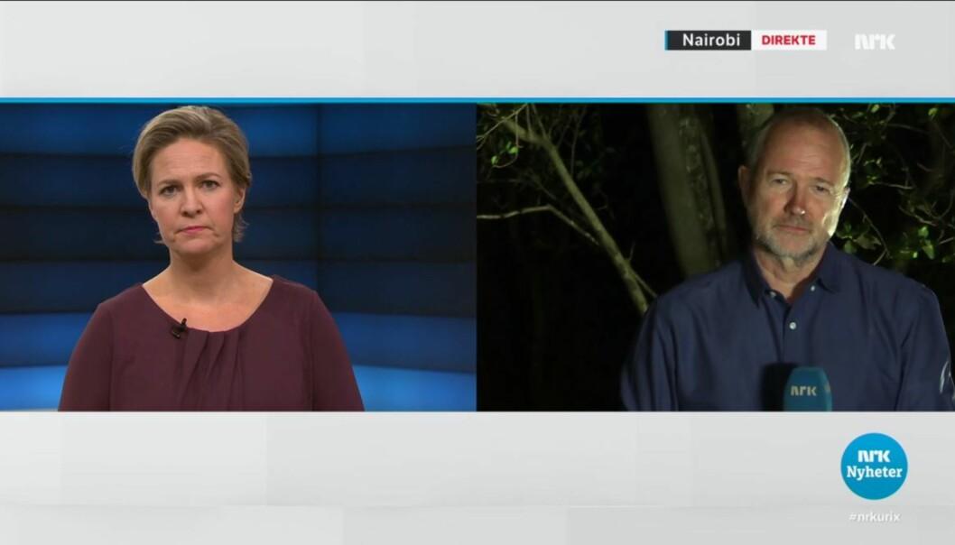 Skjermdump fra Urix-innslag der NRKs Afrika-korrespondent Sverre Tom Radøy er direkte fra Nairobi i studio til Gry Blekastad Almås.
